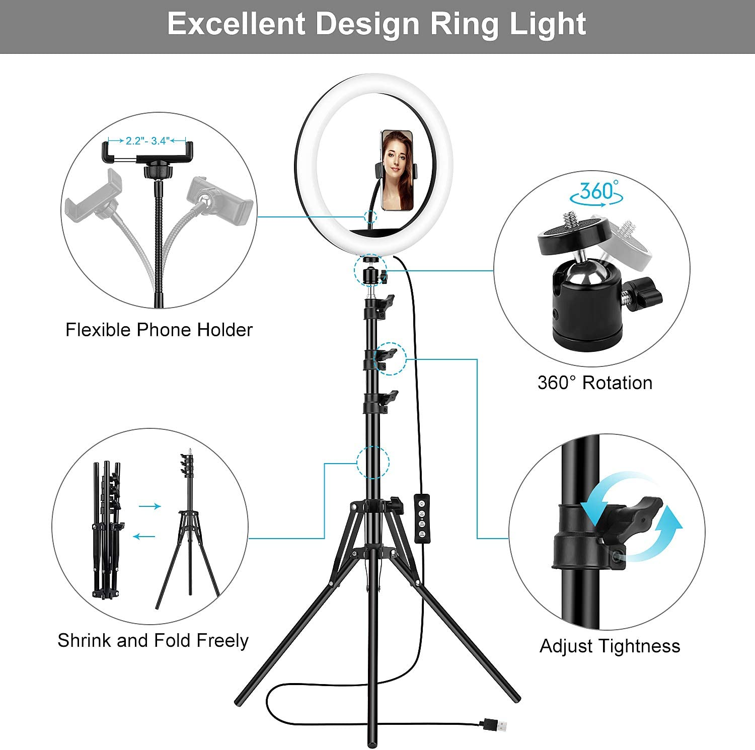Photography TBJSM Dimmable LED Beauty Camera Ringlight with Extendable Phone Clip for Makeup TikTok and YouTube Video Shooting 12/'/' Selfie Ring Light with Tripod Stand and Phone Holder