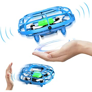 Theefun Mini Drone with LED Lights, Levitation UFO Drone, Hand Operated Quad Induction, Easy Controlled Flying Quadcopter with 2 Speed, Mini Handheld USB Fan,Toys for Boys and Girls