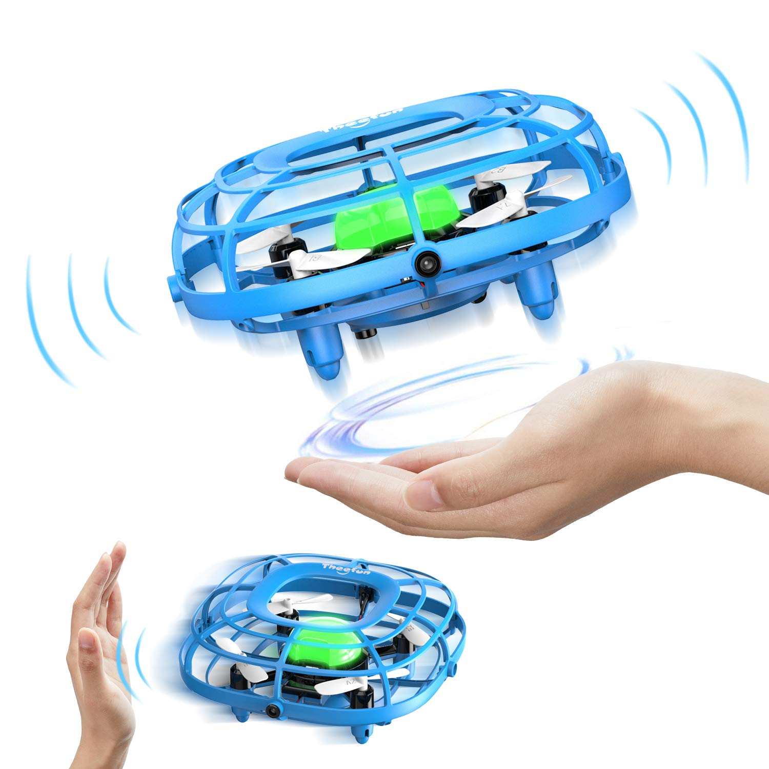 Theefun Hand Operated Drone, Flying Quadcopter Toys with 2 Speed and LED Light for Kids, Boys and Girls