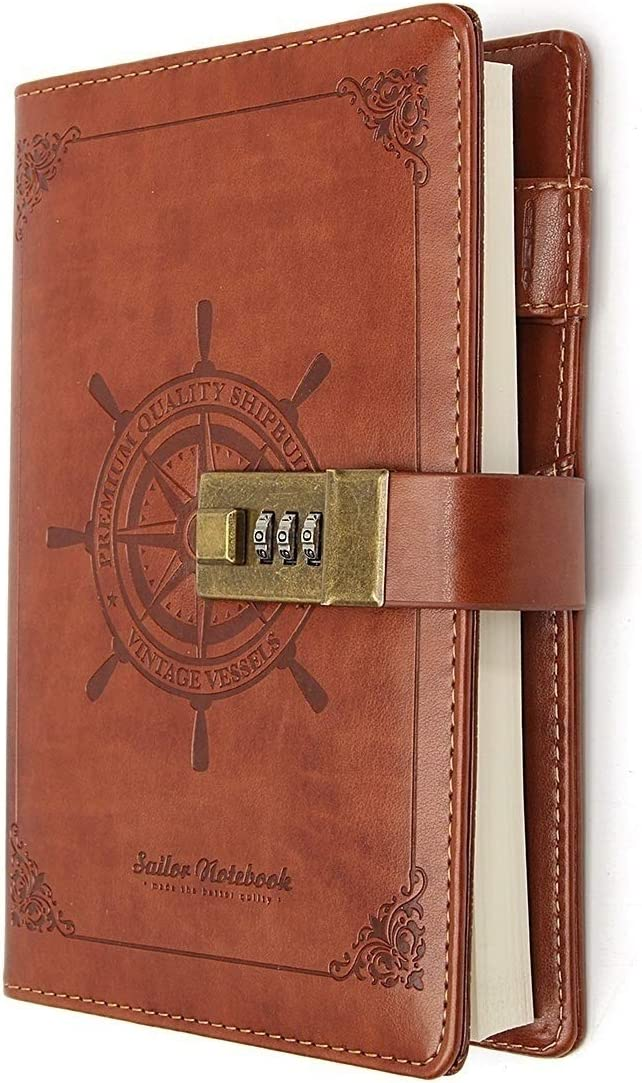Vintage B6 PU Secret Diary Notebook Journal Notepad With Code Lock Souvenir Gift