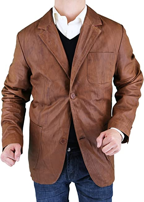 LN LUCIANO NATAZZI Men's Leather Jacket Fitted Two Button Blazer