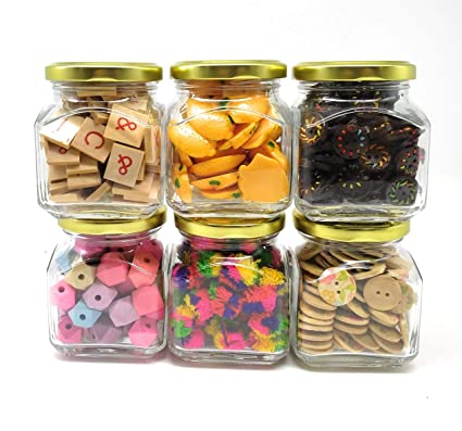 Buy Satyam Kraft Square Glass Jar And Container 200 Ml With Rust