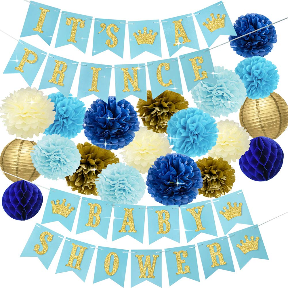 Baby Shower Decorations for Boy Navy and Gold Prince Baby Shower Party Supplies It's a Prince Baby Shower Banner Blue Gold Cream Tissue Pom Poms Paper Lanterns Gender Reveal Set for Boy