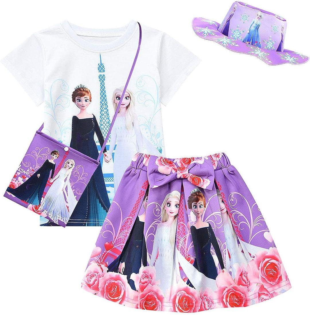 sombrero 4 piezas Dgfstm Conjunto de ropa de verano para beb/é ni/ña con lazo camiseta bolsa