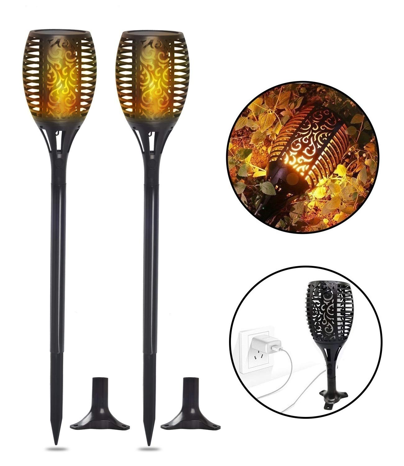 "Solar Torch Lights, Waterproof Flickering Flame Solar Torches Dancing Flames Landscape USB Charging Decoration Lighting Dusk to Dawn Outdoor Security Path Light for Garden Patio Yard Driveway 2 Pack - GORGEOUS DANCING FLAMES DESIGN: A safe alternative to the real ""flames"" - LEDs in the light cast a safe, soft, mood-enhancing glow. Please note the actual height of the item is 28.4 inches. TWO CHARGING MODES:Different from general solar torch light, it could powred by Solar energy and USB Charging,you can place it anywhereonce powered, no matter in sunny day,in winter, rainy day or cloudy day. THREE EASY INSTALLATION: Pathway, Floor, Table available. No wiring required, simply install it anywhere you like and enjoy the warm torch light. - patio, outdoor-lights, outdoor-decor - 71 e7dj7IDL -"