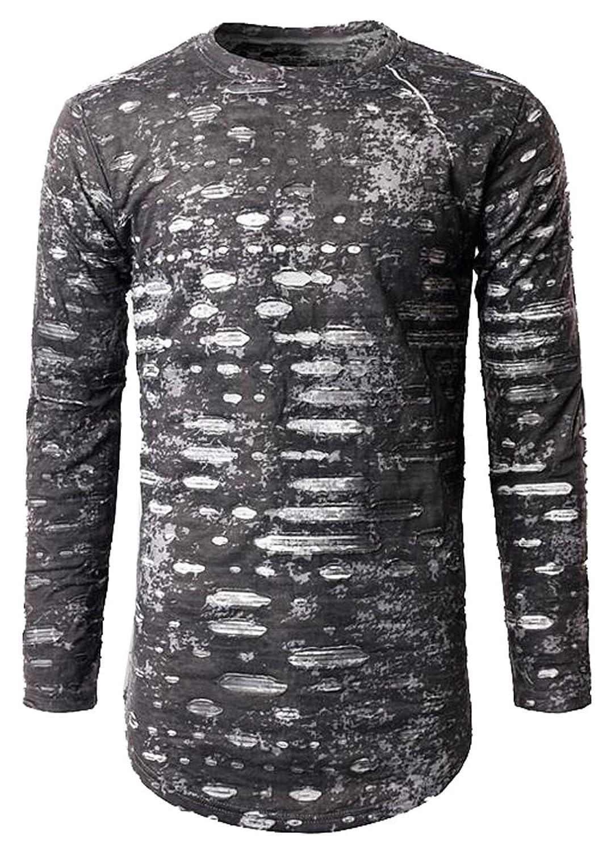 XQS Men Classic Slim Fit Round Collar Ripped Long Sleeve Shirt