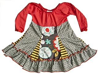 product image for Cheeky Banana Little Girls Knit Peasant Twirl Dress in Grey & Coral