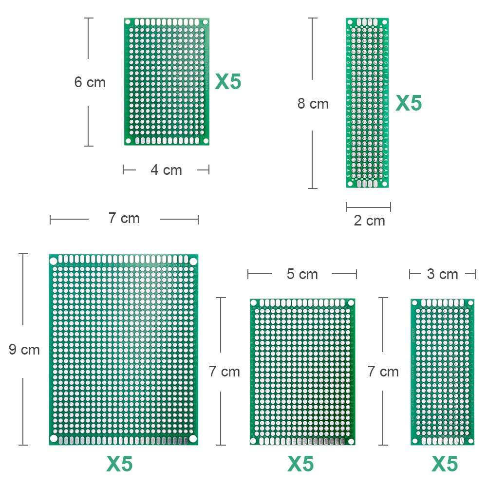 Nabance Doppelseitig Lochrasterplatte Lochrasterplatine Leiterplatte Platine PCB Universal Board Kit 25 PCB Universal Board+30 Kopfleiste 15 Screw Terminal 70Stk Doppelseitig Lochrasterplatte Kit