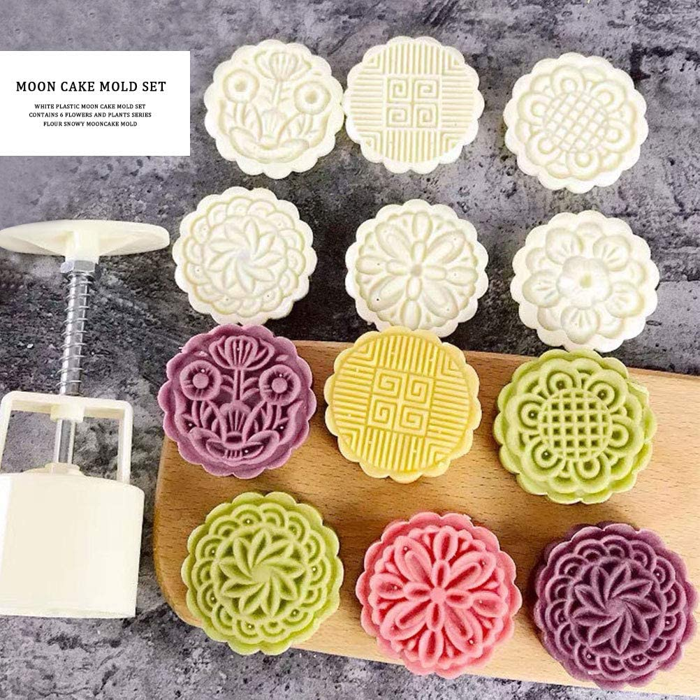 dake Moon Cake Mold with 6Pcs Stamps Hand-Pressure Flowers Mooncake Tool Mooncake Mold Press for Baking DIY Cookie Pastry Moon Cake Biscuit