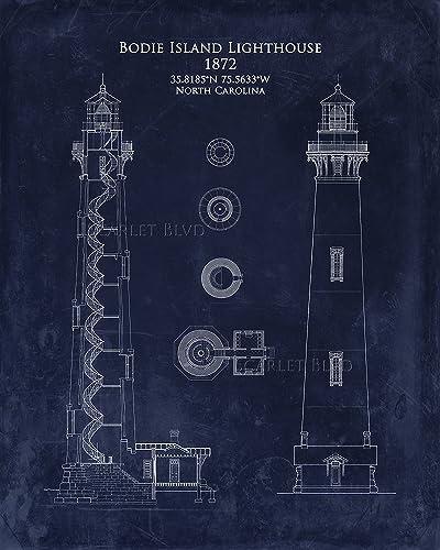 Amazon bodie island lighthouse blueprint art handmade bodie island lighthouse blueprint art malvernweather Image collections