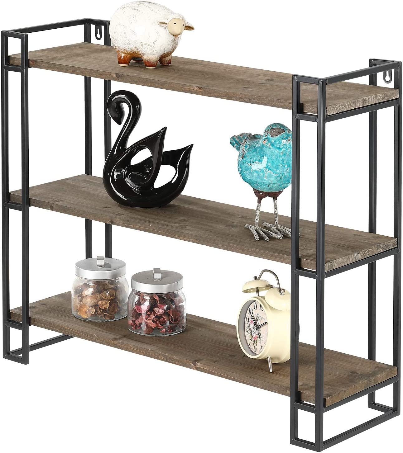 MOCOME 3 Tier Industrial Wood Bookshelves with Metal Frame, Wall Mounted/Freestanding Rustic Bookcases, Floating Wall Shelf for Bathroom Bedroom(Natural)