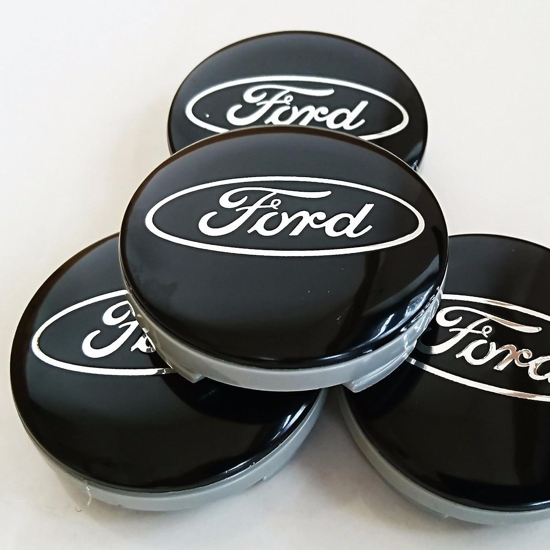 Juego de 4 tapas de Ford Llantas Mediados De Buje 54 mm protectora Negro/Plata Logo Cilindro de nadadores KA Kuga Fusion Fiesta Enfoque Mondeo Galaxy C-Max ...