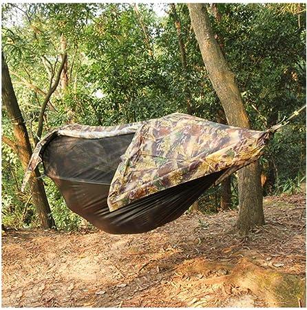 JXS-outdoor Hamaca para Acampar con mosquitera y cobertor para Lluvia Hamaca de Tela para paracaídas, sombrilla para jardín Hamaca para Acampar al Aire Libre,Camouflage: Amazon.es: Hogar