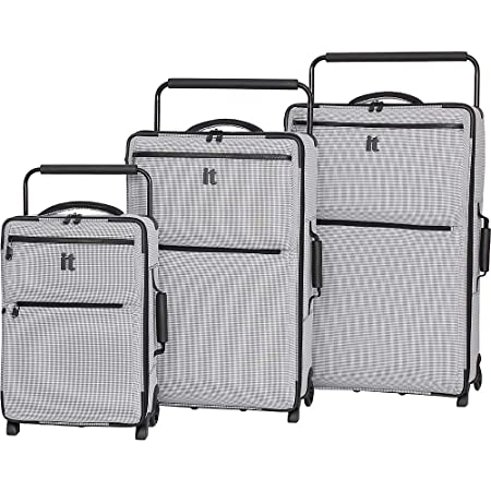 031c7ad09 IT Luggage World's Lightest Set of 3 Four Wheel Two Tone Spinner Suitcases ( Black/White Two Tone): Amazon.co.uk: Luggage