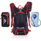 Hydration Backpack - 2-Liter Bladder with Large Valve Opening - Perfect for Hiking, Camping, Cycling & Running - Lightweight/Durable with Cushioned Adjustable Straps - Free Rain Cover Included