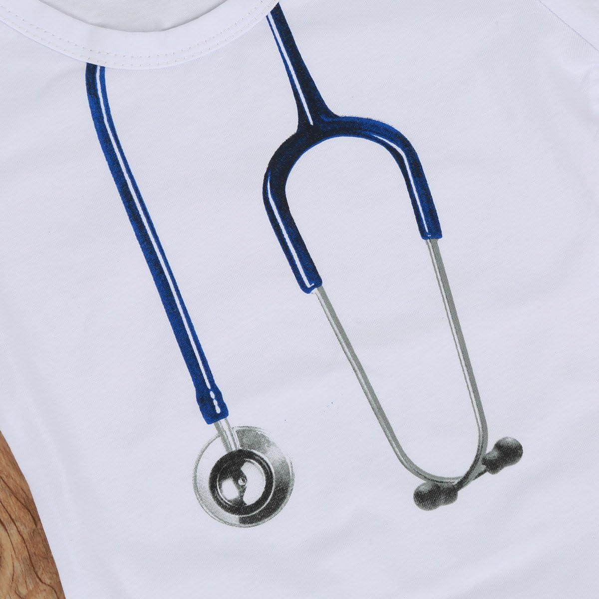 Chennie 0-24M Newborn Baby Infant Girls Boys Romper Cute Doctor Stethoscope Bodysuit