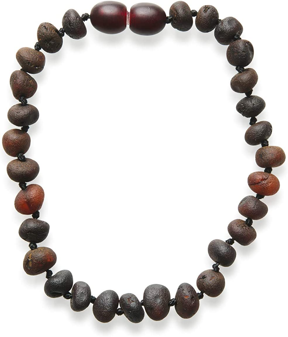 Dark Cherry Color All Natural Pain Relief and Helps with Drool Fussiness and More Child 12.5 Inches Meraki Amber Necklace Raw Unpolished Baroque Baltic Amber Necklace