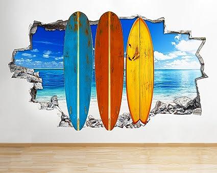 R287 Playa Tablas de Surf mar Vida Smashed Adhesivo Pared 3D Arte Pegatinas Vinilo habitación
