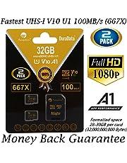 2 Pack 32GB Micro SD SDHC Memory Card Plus Adapter (Class 10 U1 UHS-I V10 A1 Pro MicroSD HC) Amplim 2X 32 GB Ultra High Speed 667X 100MB/s UHS-1. Cell Phone, Tablet, Camera TF MicroSDHC Flash