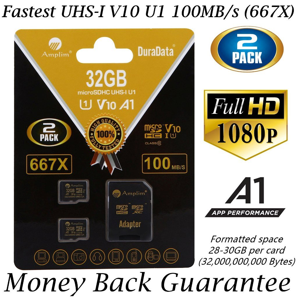 2-Pack 32GB Micro SD SDHC Memory Card Plus Adapter (Class 10 U1 UHS-I V10 A1 MicroSD HC Extreme Pro) Amplim 2X 32 GB Ultra High Speed 667X 100MB/s UHS-1. Cell Phone, Tablet, Camera TF MicroSDHC Flash