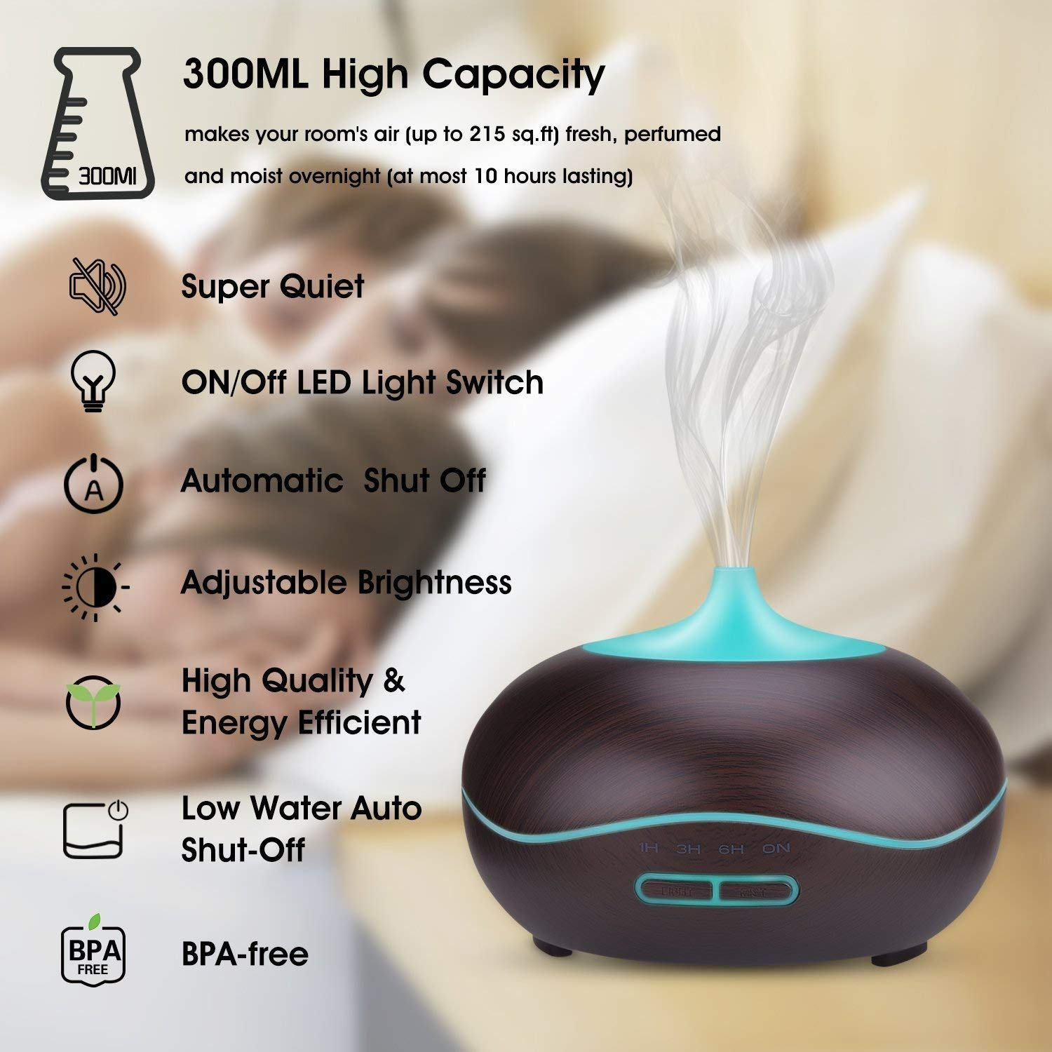 Essential Oil Diffuser, Cool Mist Ultrasonic Aroma Diffuser, Air Humidifier Wood Grain with Waterless Automatically Shut-off for Office Home Yoga Spa-Black …