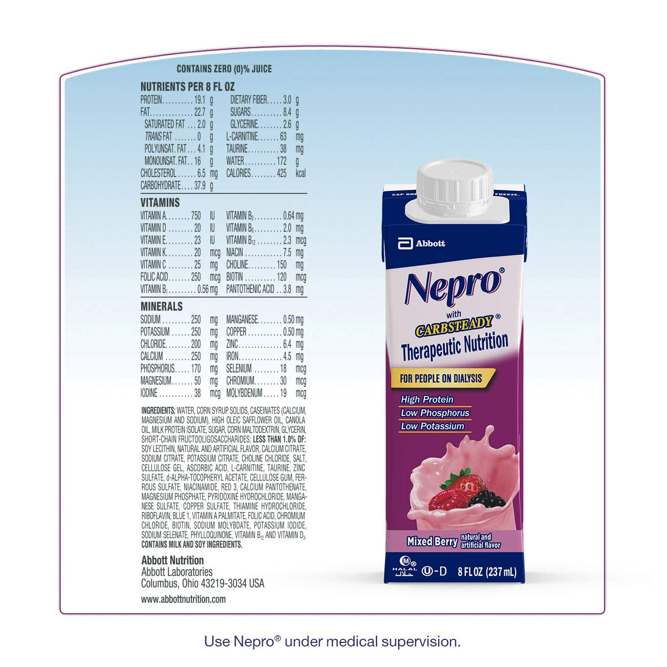 Nepro Therapeutic Nutrition Shake with 19 grams of protein, Nutrition for people on Dialysis, Mixed Berry, 8 fl ounces, (Pack of 24) by Nepro (Image #6)