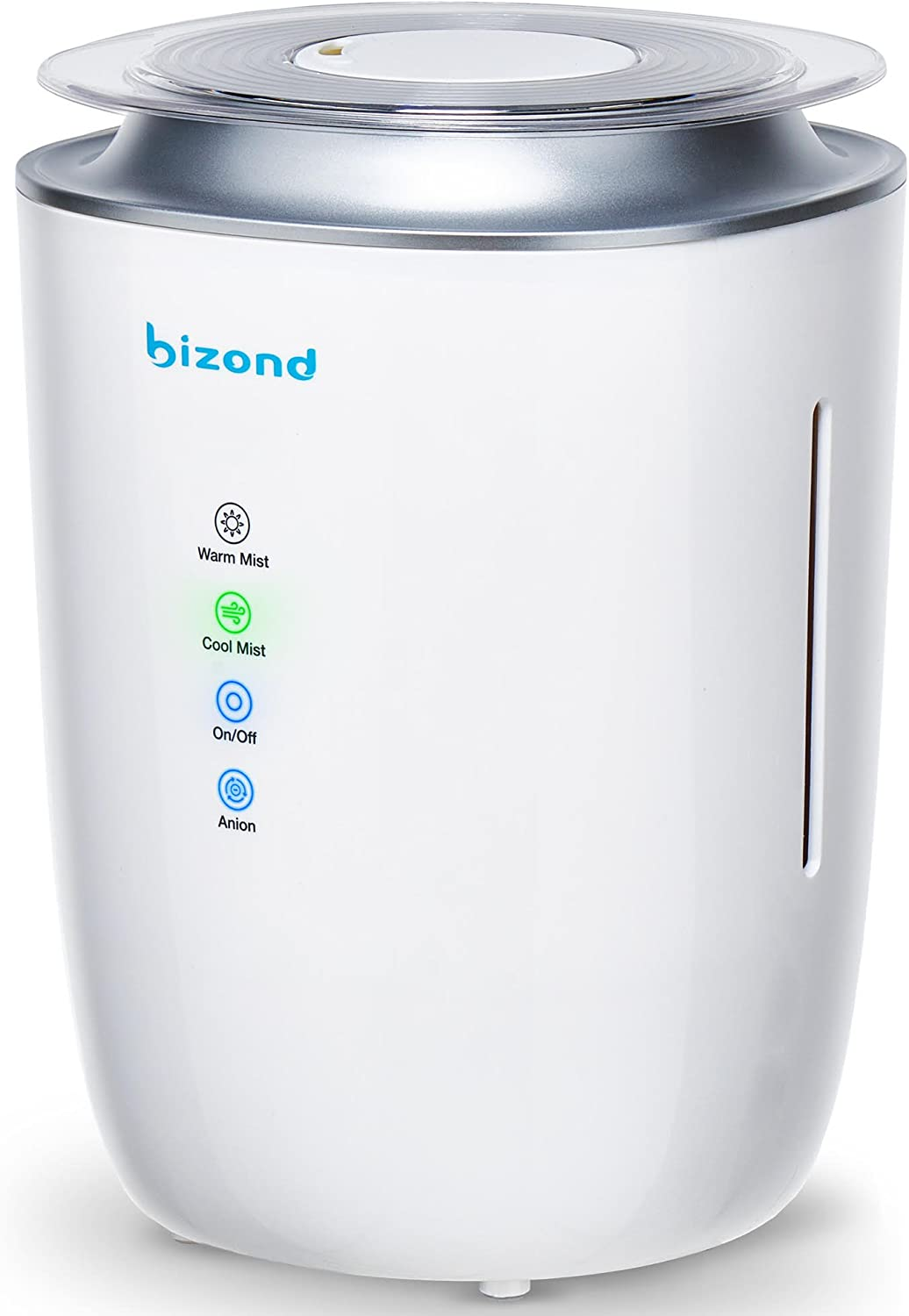 BIZOND Ultrasonic Humidifier Ultra Quiet – Warm and Cool Mist Humidifier for Bedroom, Home, Office and Kids Baby Room – 24h Air Humidifier Energy Efficient, 4l Capacity, White