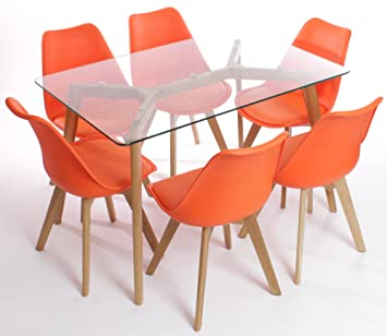 ddb268aad0e3 Charles Jacobs Dining Table Six Orange Chairs Set Solid Wood Oak Legs Clear Glass  Table Top