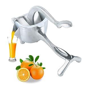 Homend Heavy Duty Single Press Aluminium Lemon Squeezer, Hand Press Fruit Juicer, Manual Press Juicer (Silver)