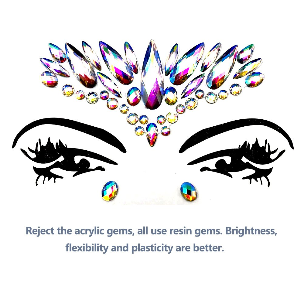 Face Gems Glitter - 8 Sets Mermaid Face Jewels Rhinestone Tattoo Face Glitter Bindi Crystals Rainbow Tears Face Gems Stickers Fit for Festival Party by LanGui (Image #5)