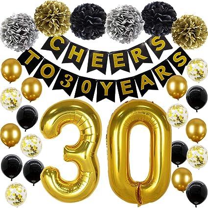 Amazon.com: Globos de 30 cumpleaños para decoración de ...