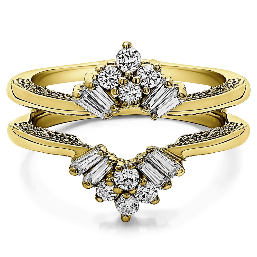TwoBirch 0.43 ct. Cubic Zirconia Vintage Fan Style Ring Guard with Millgrained Edges and Filigree Design in Yellow Plated Sterling Silver (3/8 ct. twt.)