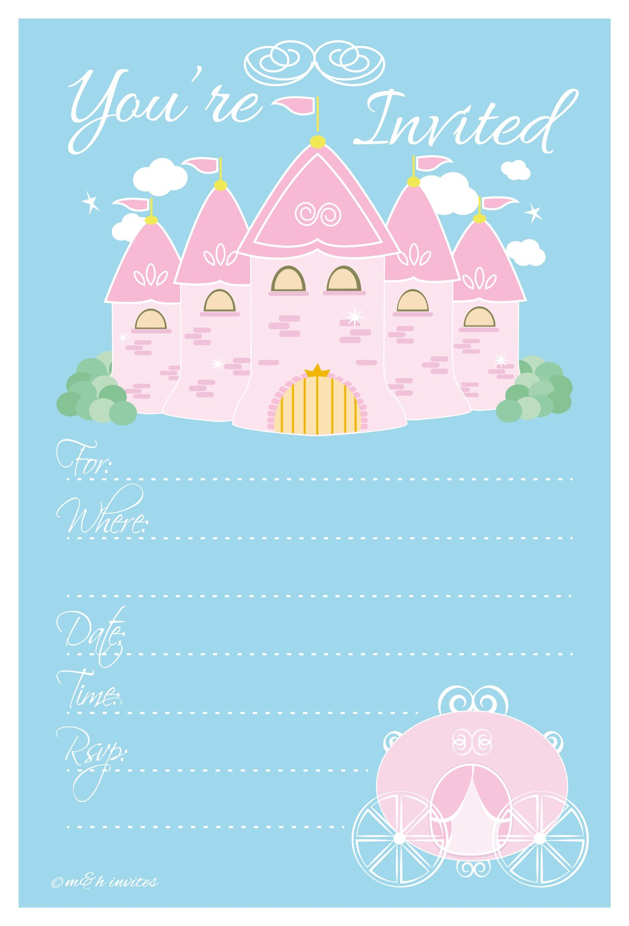 Princess Birthday Party Invitations - Fill In Style (20 Count) With Envelopes by m&h invites