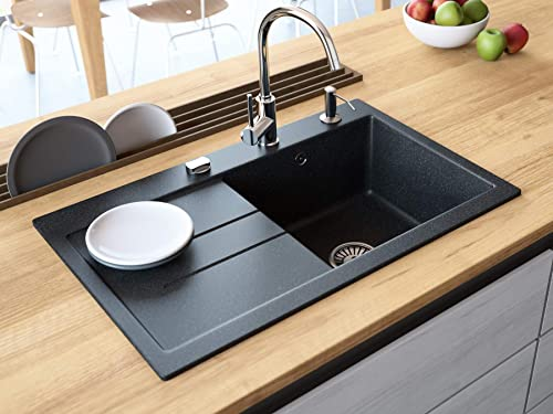 Black Kitchen Sink Lavello Luxor 100LT 31 Granite Sink Composite Single Bowl Big Range of Kitchen Sinks Drop In Drainboard Postion Left