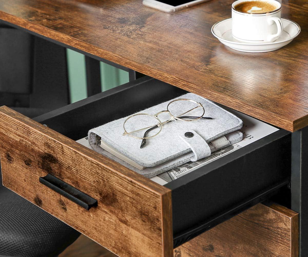 per Computer Marrone Vintage e Nero LWD74X Acciaio Design Industriale Salvaspazio Studio VASAGLE Scrivania ad Angolo a Forma di L Tavolo da Ufficio con Ripiano e Cassetto Montaggio Facile