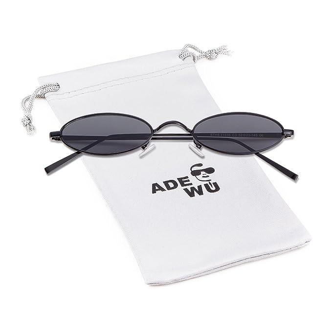 8d09be1529 ADEWU Oval   Round Sunglasses Vintage Street Style Eyewear with Thin Metal  Rim Men Women  Amazon.co.uk  Clothing