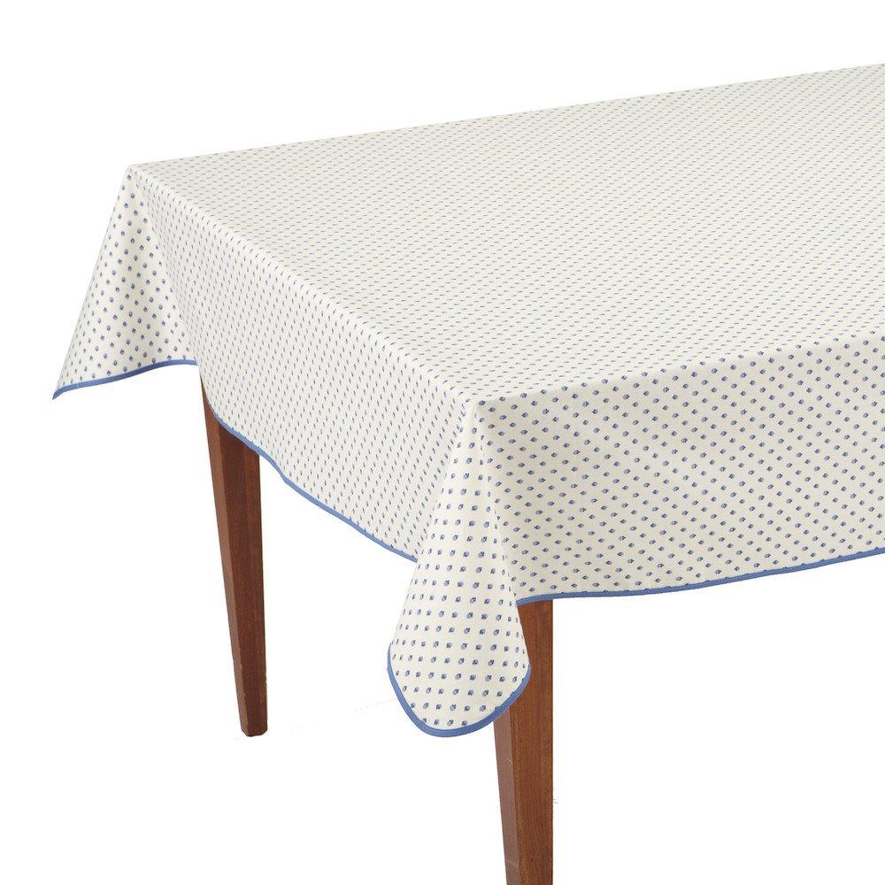 Esterel Ecru/Ciel Rectangular French Tablecloth, Coated Cotton, 63 x 138 (10-12 people)