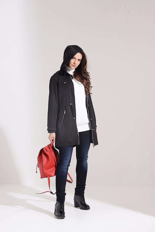 03S17 Black Charcoal Fashion Women/'s Water Resistant Festival Mac//Rain Coat