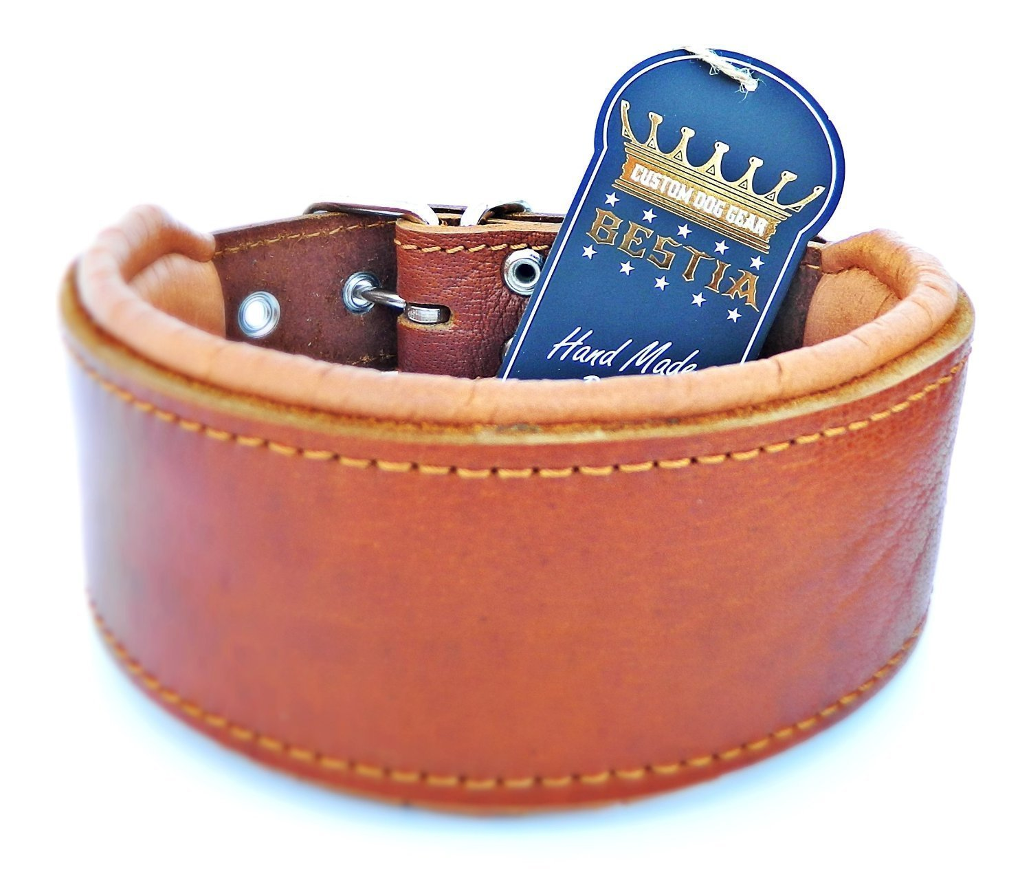 XL- fits a neck of 22.6- 25.6 inch Bestia genuine leather dog collar, Soft padded, Large breeds, cane corso, redtweiler, Boxer, Bullmastiff, Dogo, Bully, Quality dog collar, 100% leather, all brown, M- XXL size, 2.5 inch wide. Soft padded. Europe`s finest