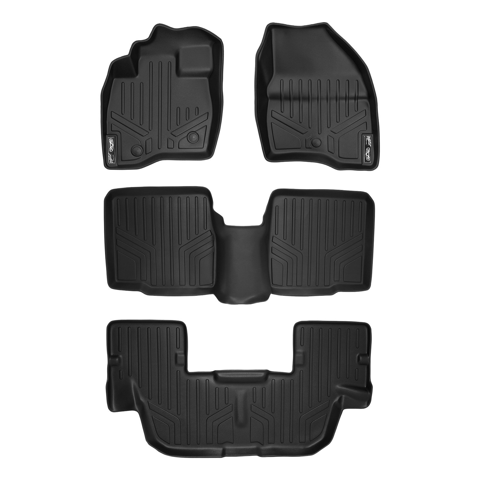 MAX LINER A0245/B0082/C0082 Custom Fit Floor Mats 3 Liner Set Black for 2017-2019 Ford Explorer Without 2nd Row Center Console