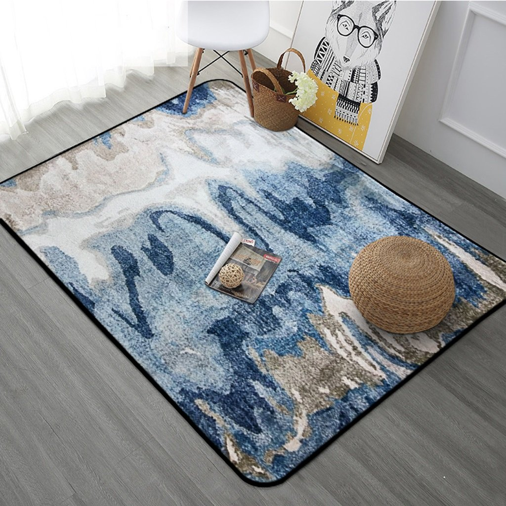 European Style Simplicity Modern Living Room Bedroom Carpet Coffee Table Sofa Non-slip Rectangular Rugs ( Color : Blue , Size : 120180cm )