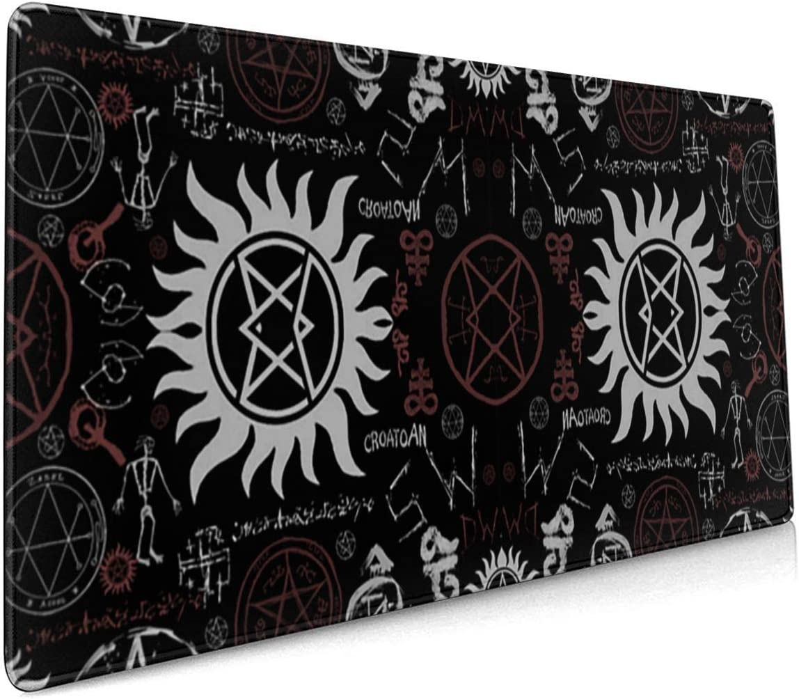 Supernatural Symbols Black Gaming Mouse Pad Computer Keyboard Mouse Mat Large Extended Soft Ultra Thick Premium-Textured & Waterproof with Stitched Edges Non-Slip Rubber Base for Work, Laptop, Pc