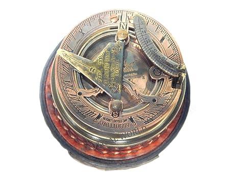 a2f25f36240a Brújula de latón 3 cm caja reloj de marítimo náutico Vintage antiguo  náutico reloj de sol