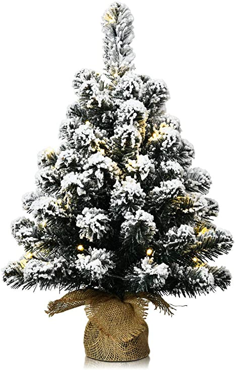 2FT ARTIFICIAL MINIATURE CHRISTMAS TREE SILVER TIPED BERIES CONES TABLE DECOR