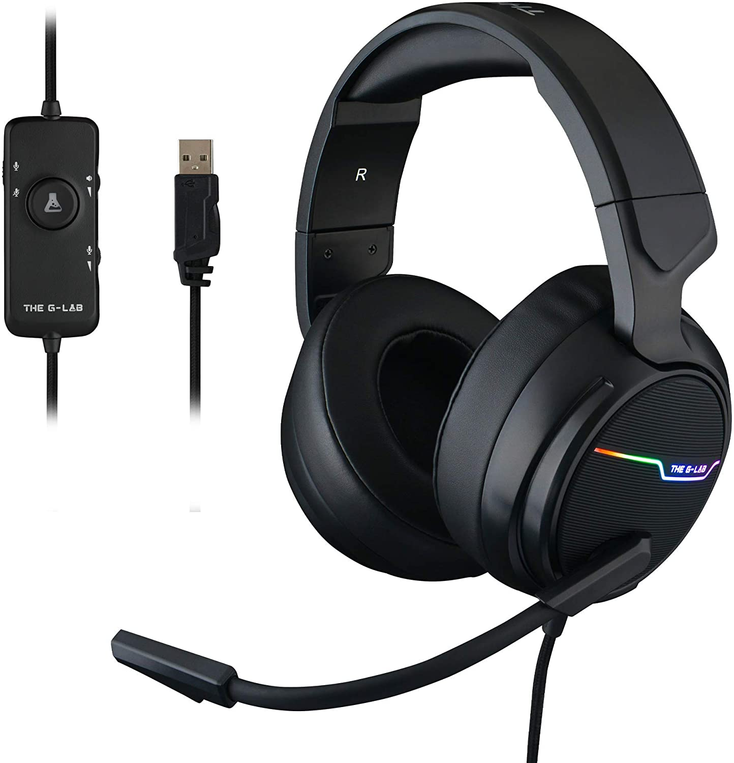 THE G-LAB Korp Thallium Cascos Gaming USB 7.1 Digital Surround - Auriculares Gaming Micrófono con cancelación de Ruido, LED RGB - Compatible con PC PS4 Mac (Negro)