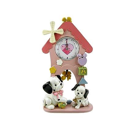 Truu Design Dalmatian Clock with Pendulum, 12 inches, Pink