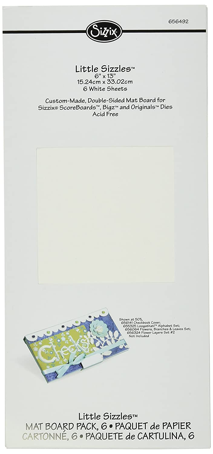 """Sizzix Little Sizzles - 6"""" x 13"""" Mat Board Pack, 6 White Sheets"""