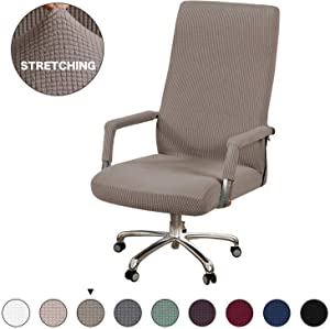 Office Chair Cover For High Back Computer Chair Slipcover with Armrest Stretch Jacquard Lycra Slipcover Office Computer Chair Seat Covers, Machine Washable Stretchable Polyester Cover, Taupe