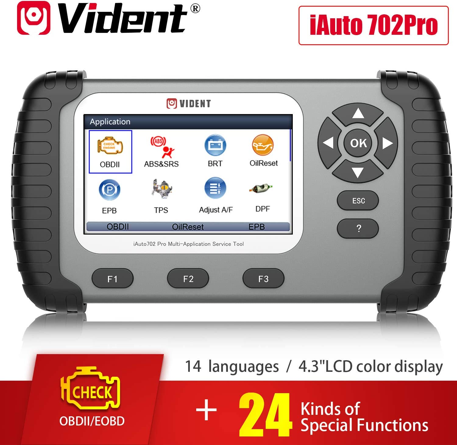 VIDENT iAuto708 Full System All Make Scan Tool OBDII Scanner OBDII Diagnostic Tool Automotive Check Engine Light OBD2 Professional Scanner