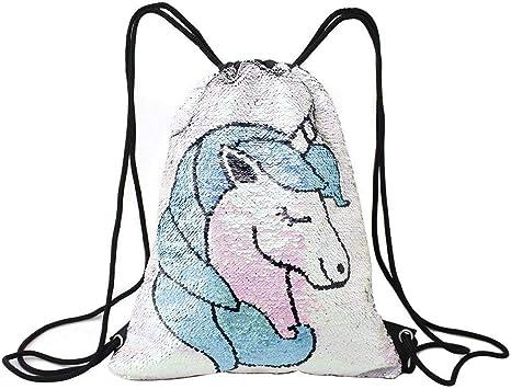 Tessuto reversibile con Lustrini Designer Borsetta Unicorno Sirena Luccicante da Donna Borsa a mano